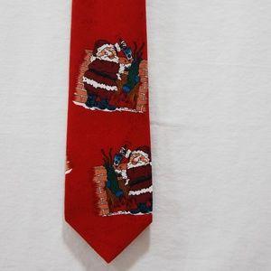 Christmas Tie Santa Novelty Red